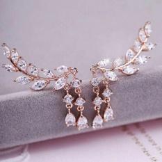 Fancyqube Fashion Wanita Perhiasan Kristal Meninggalkan Telinga Lilin Stud Anting-Anting Emas-Intl
