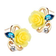 Fancyqube Berlapis Emas Mawar Anting-Anting Bunga Kuning