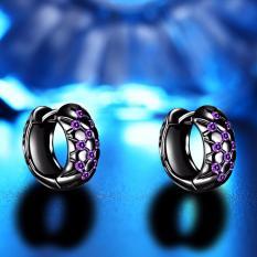 Fancyqube Hot Jual Fashion Pesona Kepribadian Alloy Warna Ungu Perak Perhiasan Anting Kristal Bulat Zirkonia Desain Anting-Anting untuk WANITA HITAM-Internasional