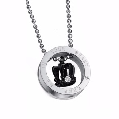 Fancyqube King Queen Stainless Steel Crown His and Her Promise Matching Love Couple Necklace Black - intl