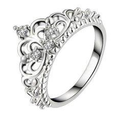 Wanita Fancyqube S925 Murni Perak Mahkota Berlapis Cincin Berlian Perak