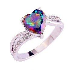 Wanita Fancyqube S925 Perak Sky Rainbow Kristal Cincin Diamond Cincin Berwarna-warni Warna Cinta