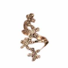 Fancyqube Fashion Terbaru Vintage Asli Dagangan Tunggal Empat Kecil Plum Bunga Retro Cincin Perhiasan Perunggu-Internasional
