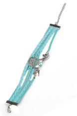 Fancyqube Leather Braided Tenunan Tangan Pearl Burung Dekoratif Tibet Perak Gelang Biru Muda