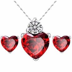 "Fancyqube Love Heart Zircon Kalung And Anting-anting Set untuk Wanita, China Pernikahan Berlapis Perak Perhiasan Set Hadiah Bandung Photo:"" Perempuan Merah"