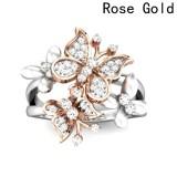 Jual Beli Fancyqube Baru Kupu Kupu Ganda Bertatahkan Zircon Cincin Rose Gold 6 Intl