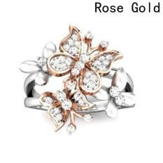 Harga Fancyqube Baru Kupu Kupu Ganda Bertatahkan Zircon Cincin Rose Gold 6 Intl Online