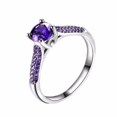 Fancyqube Baru Fashion Ungu Zircon Cincin Amethyst Cincin Hadiah For Nya Cincin Pernikahan Ungu-9