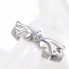 Fancyqube Baru Lady Fashion Silver Plated Pembukaan Hollow Cincin Pasangan untuk Wanita untuk Hidup Retro Ring Angel Wing Perhiasan (putih 16-18mm) -Intl