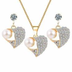 Fancyqube Baru Populer Peach Imitasi Mutiara Liontin Kalung Earrings Wanita Perhiasan Set Wanita Pernikahan Perhiasan Emas Heart