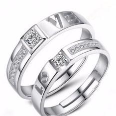 Fancyqube Baru Gaya Romantis Wanita dan Pria Cincin Berlapis Perak Wanita Beberapa Cincin Wanita Perhiasan Hollow LOVE Desain (Putih 14-16mm) -Intl
