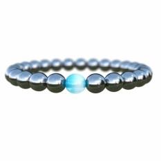 Fancyqube Baru Wanita Hitam Keren Magnetik Gelang Beads Hematite Terapi Batu Perawatan Kesehatan Magnet Hematite Manik-manik Gelang Perhiasan Pria -Intl