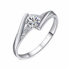 Fancyqube BARU Zirkon Rubi Kristal Berbalut Perak Perhiasan Berlian CZ Cincin Pernikahan Mawar Berbalut Emas Indah Perhiasan Wanita Bijoux J045 SV-7 (Putih 14-16mm)