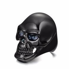 Fancyqube Newest Stainless Steel Ring Fashion Black Skull Cool Man Finger Ring Black-10 - intl