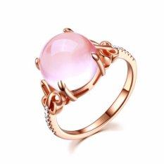 Fancyqube Pink Batu Cincin Perhiasan untuk Wanita Butterfly Seting Adjustable Hollow Style Clear Crystal Aksesori Cincin untuk Pesta Pernikahan Hadiah -Intl