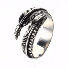 Fancyqube Retro Vintage Bulu Arrow Membuka Ring Wanita Fashion Perhiasan Aksesoris Perak-Intl