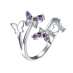 Fancyqube Trendy Perhiasan Cincin Pernikahan Butterfly Women Adjustable Putih-Intl