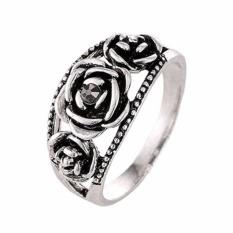 Fancyqube Unik Thailand Silver Warna Rose Cincin Kompatibel Bohemia Cocktail Ring Silver-19-Intl