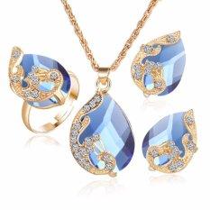Fancyqube Grosir Emas Plated Austria Merak Tiga Potong Crystal Zircon Water Drop Liontin Kalung Earring Ring Set Wanita Bijouterie Biru (Putih) -Intl
