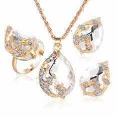 kesukaanqube Grosir emas peacock Austrian berlapis tiga potong crystal zircon air drop pendant kalung anting-anting ring set perempuan perhiasan putih (White)