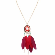 Fancyqube Wanita Fashion Retro Dream Catcher Feather Pendant Sweater Panjang Rantai Kalung Merah-Intl