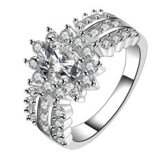 Fancyqube Wanita Kualitas Tinggi Kristal Mewah Cincin Berlian Yang Bersinar 925 Perak Cincin Perak
