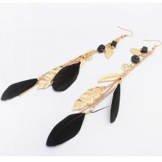 Fancyqube Women's Fashion India BOHO Perhiasan Pohon Daun Bulu Jumbai Panjang Drop Earrings Bohemian Etnis Vintage Pesona Retro Earrings Hitam-Intl
