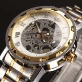 Harga Fancytoy Baru Pria Klasik Transparan Steampunk Skeleton Mechanical Stainless Steel Watch Emas Intl Yang Murah