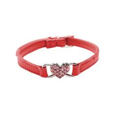 Fancytoy PU Kulit Bling Crystal Rhinestone PET Kucing Anjing Kalung Berlian Puppy Merah M-Intl