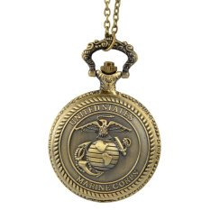 Beli Fancytoy Korps Marinir Amerika Serikat Pria Retro Perunggu Vintage Saku Kuarsa Perhiasan Coklat Baru