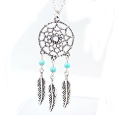 Fancytoy Wanita Fashion Retro Dream Catcher Feather Charm Pendant Long Chain Necklace--Intl