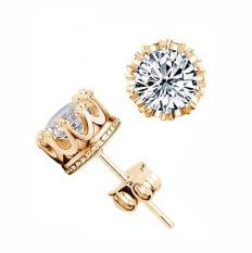 Fang Fang Menawan Perhiasan Putih Berlapis Multi Prongs Zirconia CZ Diamond Mahkota Stud Anting untuk WANITA (Rose Gold) -Intl