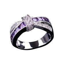 Fang Fashion Amethyst Lintas Jari Cincin For Putri Wanita Hot Jual Wanita Kristal Mewah Cincin Pertunangan Pernikahan Ungu Ukuran 6 (international) -Internasional