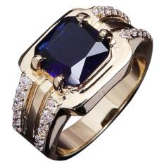 Pria Fang Safir biru cincin kawin Kuning emas berlapis model panas pria wanita perhiasan mewah ukur