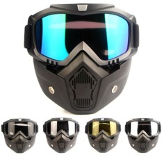 Fang Fang Sepeda Motor Bike Modular Dilepas Riding Helmet Goggles Shield Masker Wajah-Intl