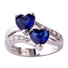 Fang Fang Baru Fashion Safir QUARTZ & Putih Topaz Jantung Bentuk Romantis Pernikahan Cincin Perak (Dark Blue) Cincin Ukuran 9-Intl