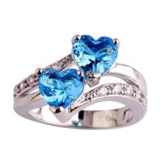 Fang Fang Baru Fashion Safir QUARTZ & Putih Topaz Jantung Bentuk Romantis Pernikahan Cincin Perak (Sky Blue)) Ring Ukuran 7-Intl