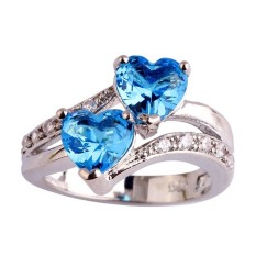 Fang Fang Baru Fashion Safir QUARTZ & Putih Topaz Jantung Bentuk Romantis Pernikahan Cincin Perak (Sky Blue)) Cincin Ukuran 8-Intl