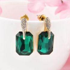 Fang Fashion Wanita Berlapis Emas Zamrud Asli Kristal Berlian Imitasi Anting Tindik Telinga Hadiah Natal (Hijau)