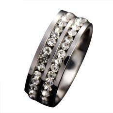 Fang Fang Wanita Pria Fashion Double Baris Crystal Titanium Baja Pernikahan Perhiasan Cincin (Hitam) UKURAN 6-Intl