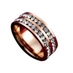 Fang Fang Wanita Pria Fashion Double Baris Crystal Titanium Baja Pernikahan Perhiasan Cincin (Emas) Ukuran 9-Intl