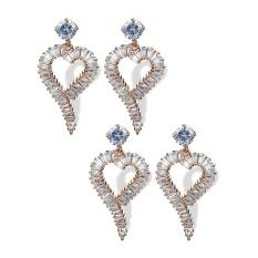 Fang Fang Wanita Fashion Zirkonium Anting Elegan Alloy Earrings-35mm * 18mm-Intl