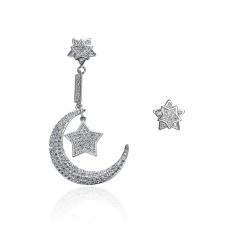 Fang Fang Wanita Fashion Zirkonium Anting Elegan Alloy Earrings-51*27mm 10*10mm- INTL