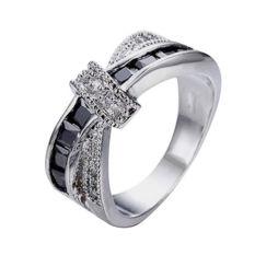 Fang Fang Wanita Cincin Pernikahan Silang Hitam 10 K Emas Putih Diisi Fashion Perhiasan Ukuran 7-Intl