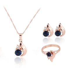 Fang Zirkon Emas Berlapis Perempuan Pernikahan Pasangan Anting-Anting Kalung Cincin Perhiasan Set (Biru)
