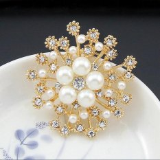 Fantastic Flower Crystal Brooch Lapel Pines Fashion Women Wedding Dress Hijab Pins Jewelry Rhinestone Large Brooches -Gold - intl