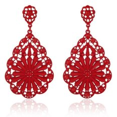 Fashion 1 Pair Wanita Lady Elegant Bunga Rhinestone Telinga Anting Stud Hot RD-Intl