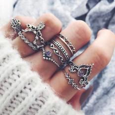 Mode 10Pcs / Set Bohemian berongga Air Jatuhkan Pola Vintage Kristal Beidou Seven Stars Fatima Tangan Cincin untuk hadiah Wanita - intl