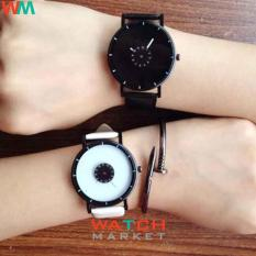 Fashion 1566 - Jam Tangan Couple - Strap Kulit Hitam Putih