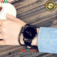 Fashion 1566 - Jam Tangan Unisex - Strap Kulit Hitam
